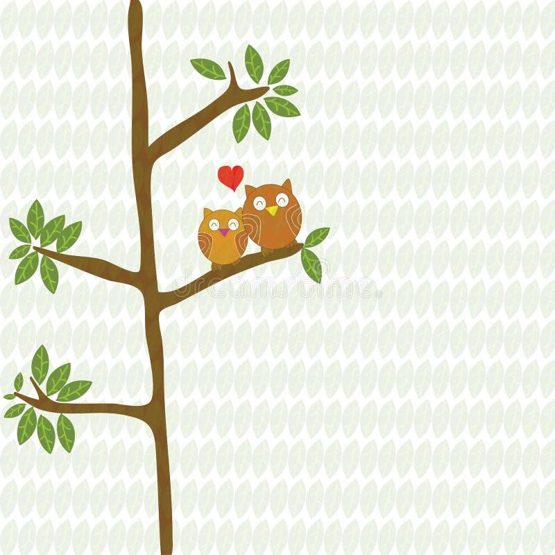 Acople a coruja que os pássaros amam com coração vermelho no vetor dos desenhos animados da árvore ilustração stock