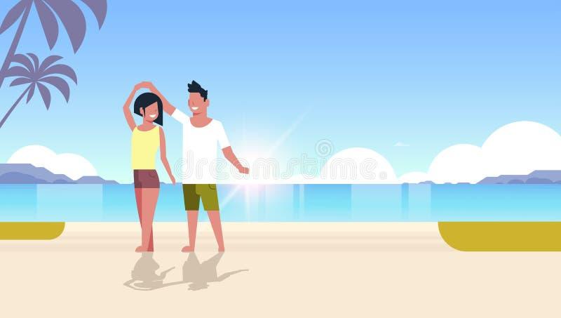 Acople a dança nos amantes da mulher do homem da praia do mar que têm montanhas da palmeira do beira-mar do conceito das férias d ilustração stock