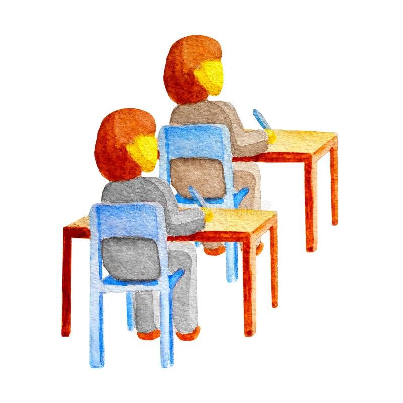 Acople dos estudantes que as meninas no uniforme se sentam em mesas de madeira em cadeiras Dois alunos escrevem com penas As cria ilustração do vetor