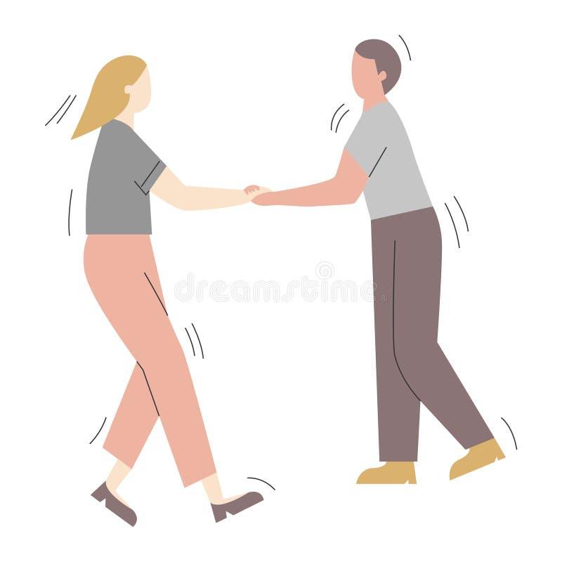Acople dos personagens de banda desenhada que têm o divertimento que dança em um partido Homem e mulher vestidos na roupa na moda ilustração do vetor