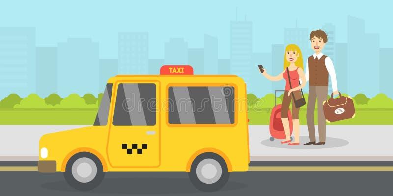 Acople dos turistas com o Táxi chamado bagagem pelo telefone celular, pelo curso, pelas férias, e pela ilustração do vetor da ave ilustração stock