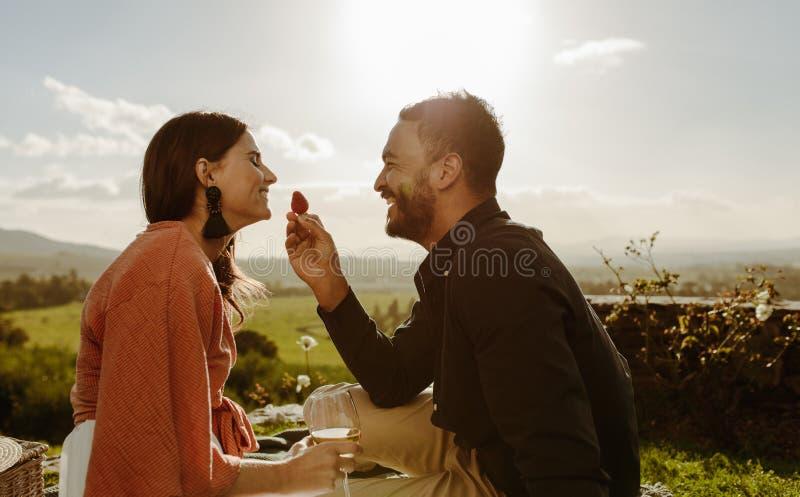 Acople em uma data romântica que senta-se em um vinhedo imagens de stock royalty free