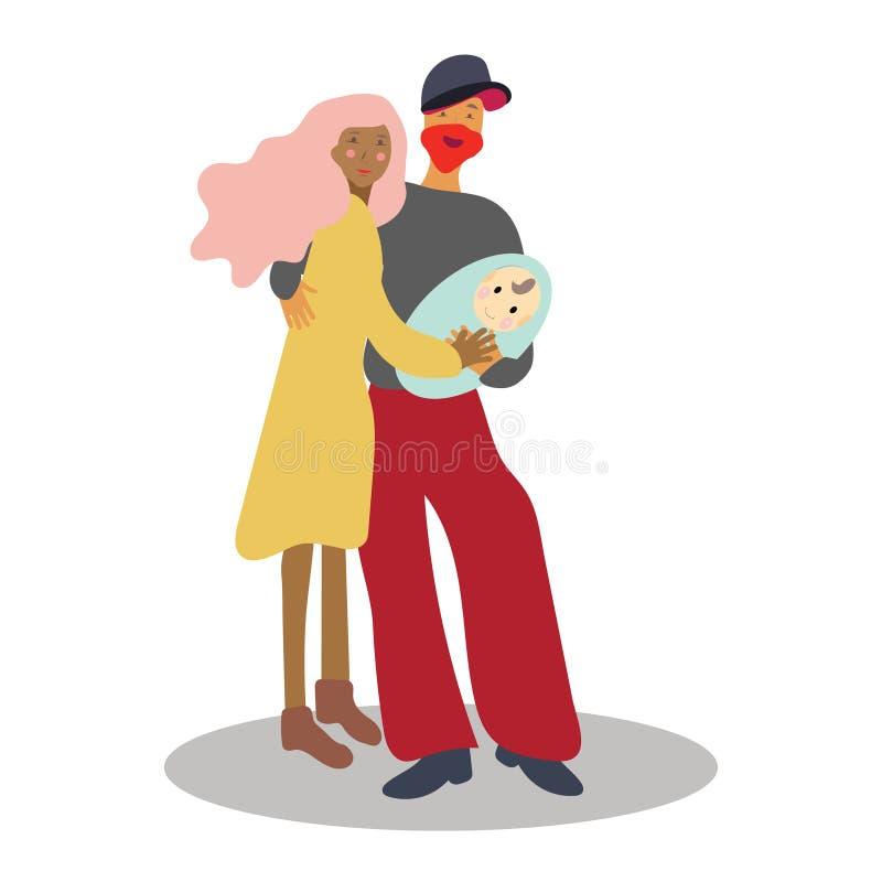 Acople guardar um bebê recém-nascido ilustração royalty free