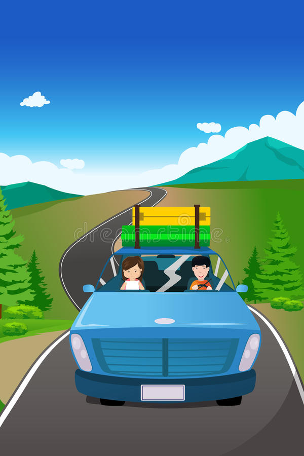 Acople a montada de um carro que vai em uma viagem por estrada ilustração do vetor