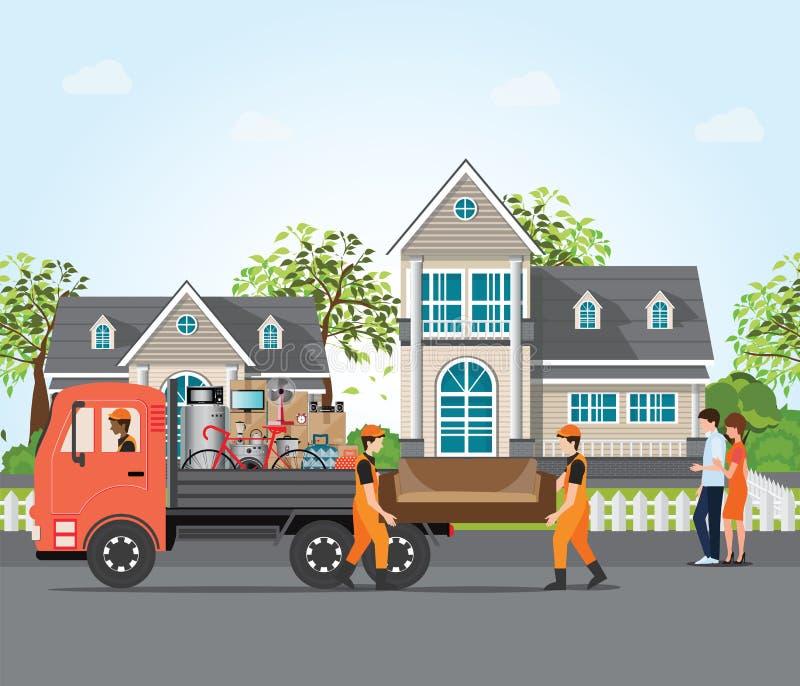 Acople mover-se na casa nova ilustração stock