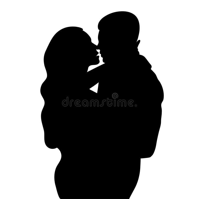 Acople na silhueta do amor, nos amantes homem bonito e na mulher que abraça e estão indo beijar esboços, ícone, Dr. preto e branc ilustração stock