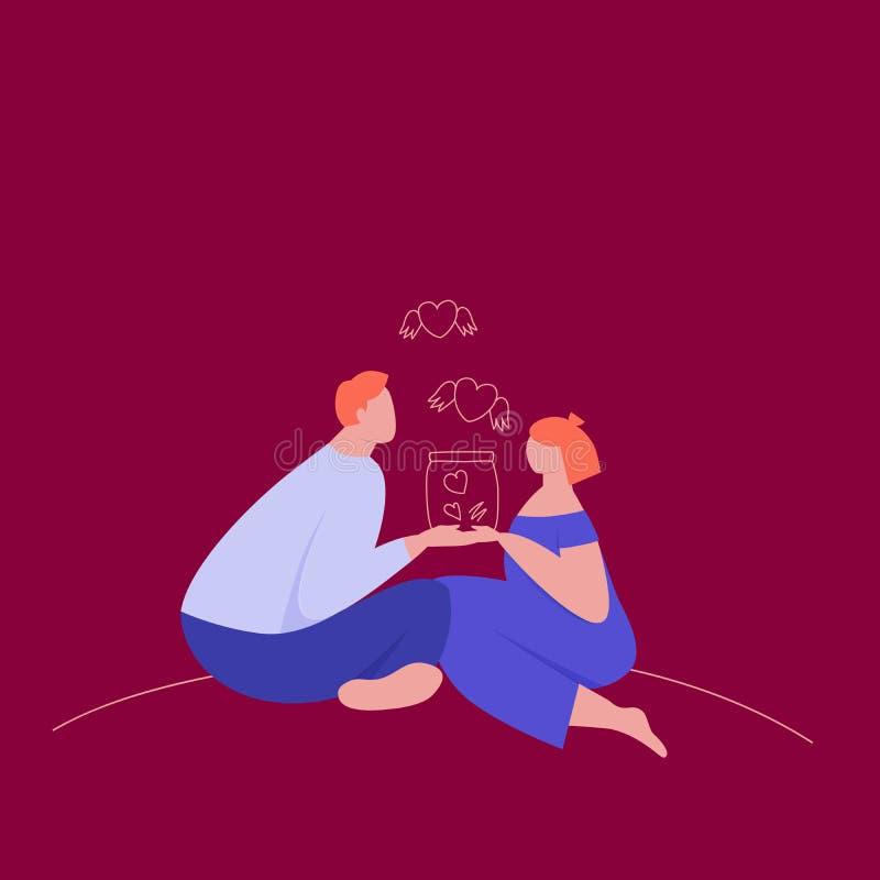 Acople no amor que guarda um frasco dos corações ilustração royalty free