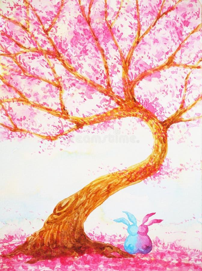 Acople o amante dos coelhos que senta-se sob a pintura da aquarela do dia de Valentim de árvore de amor ilustração stock