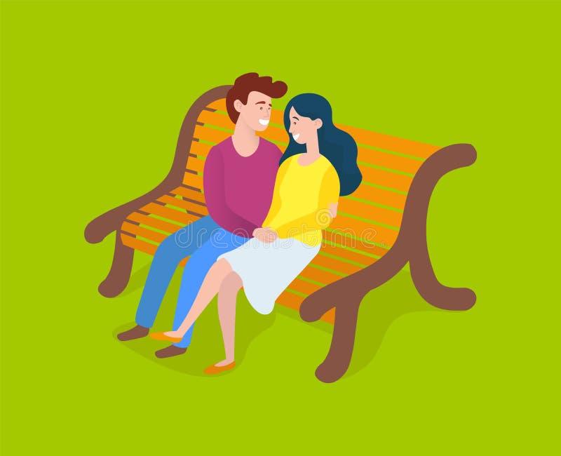 Acople o assento do homem e da mulher no banco isolado ilustração stock