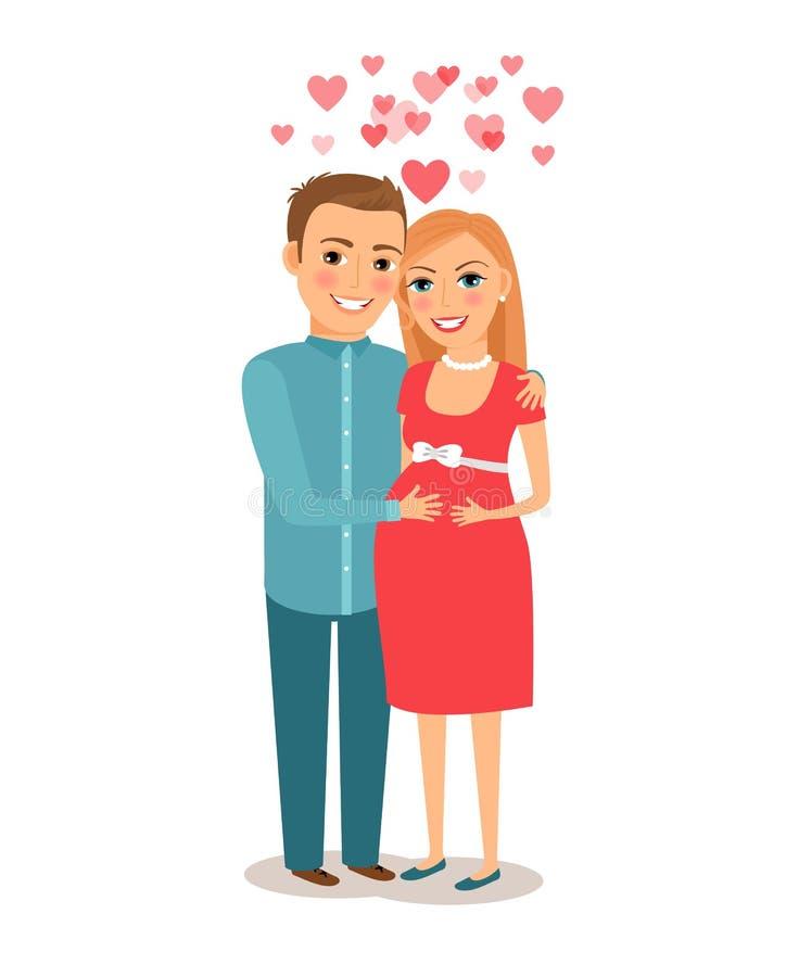 Acople o bebê de espera ilustração royalty free