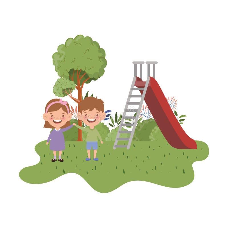 Acople o bebê no parque do jogo com corrediça ilustração stock