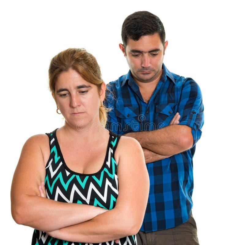 Acople o conflito, o divórcio - mulher triste e o homem foto de stock royalty free