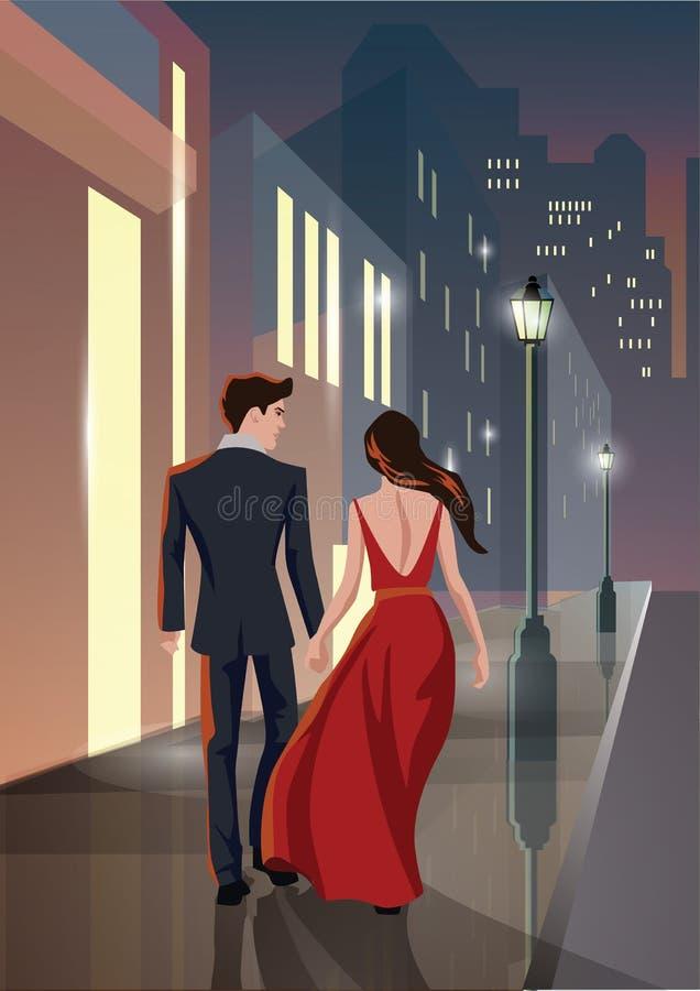 Acople o homem e a mulher que andam na cidade da noite ilustração stock