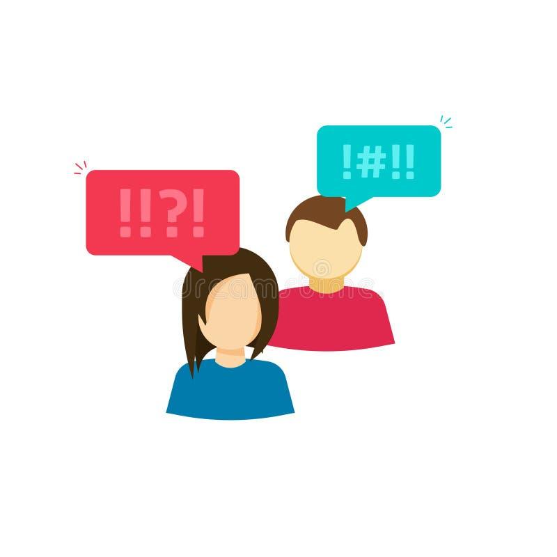 Acople o homem e a mulher que discutem o vetor, as pessoas frustradas, duas dos povos com o bate-papo e emoções negativas, disput ilustração do vetor