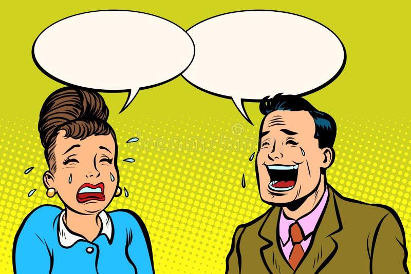 Acople o homem e mulher, ri-a grita ilustração do vetor