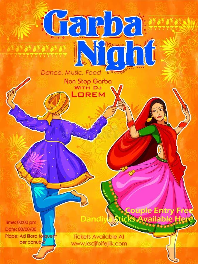 Acople o jogo de Dandiya no cartaz de Garba Night do disco para o festival de Navratri Dussehra da Índia ilustração royalty free