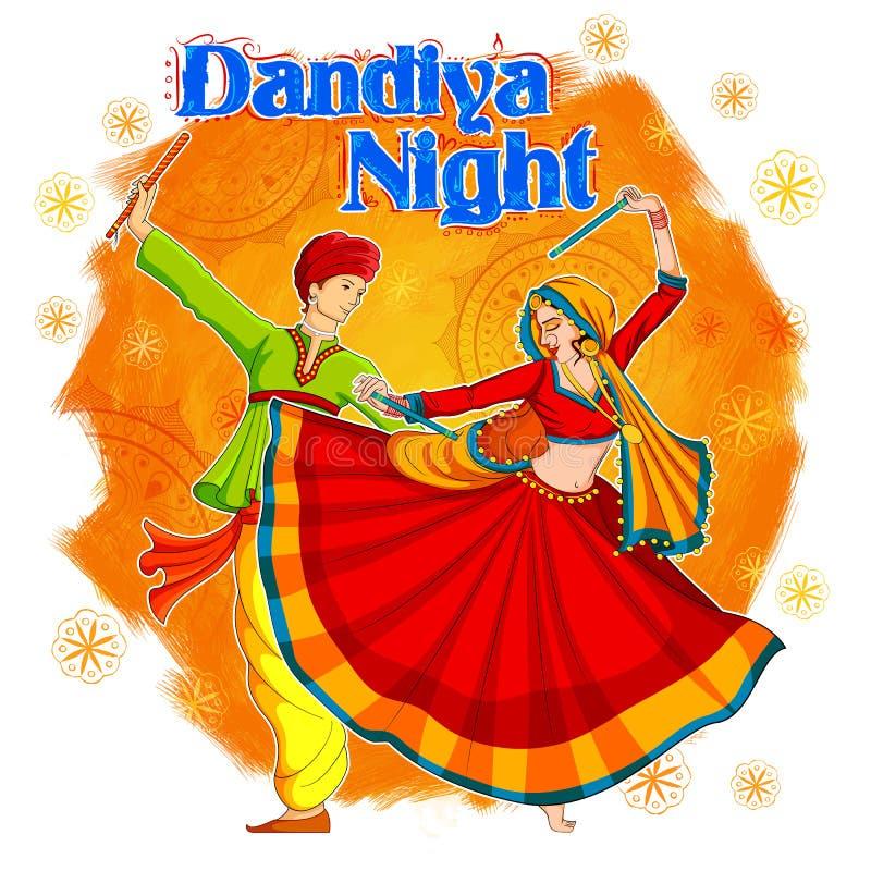 Acople o jogo de Dandiya no cartaz de Garba Night do disco para o festival de Navratri Dussehra da Índia ilustração do vetor
