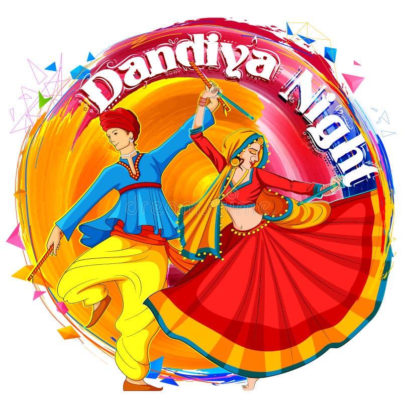 Acople o jogo de Dandiya no cartaz de Garba Night do disco para o festival de Navratri Dussehra da Índia ilustração stock