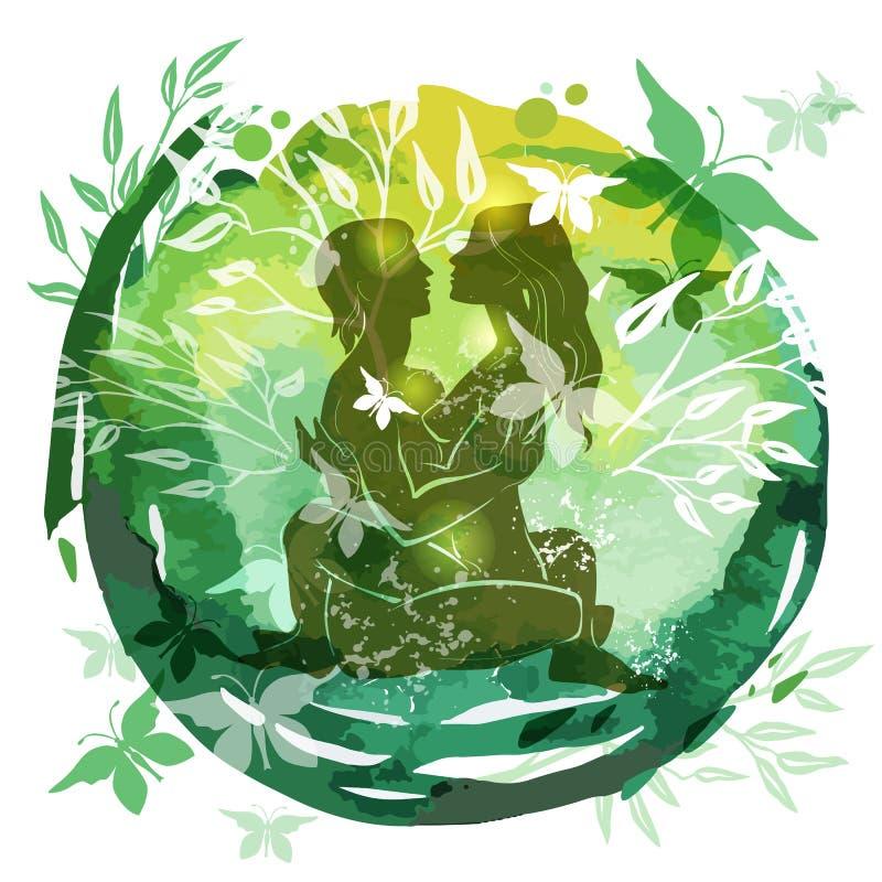 Acople o nahata praticando do fundo da aquarela do verde da ioga das birras ilustração stock