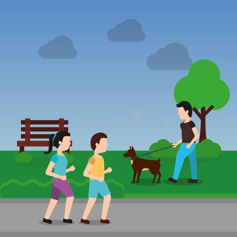 Acople o passeio e o homem com o cão na cena do parque ilustração royalty free