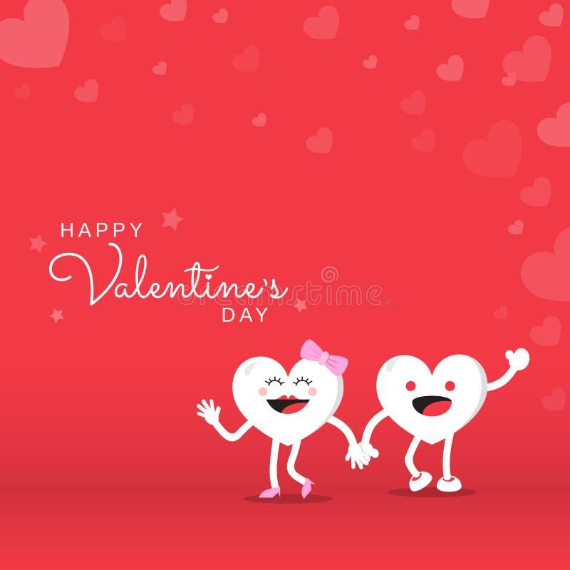 Acople o personagem de banda desenhada bonito do coração para o dia de Valentim feliz no fundo vermelho ilustração do vetor