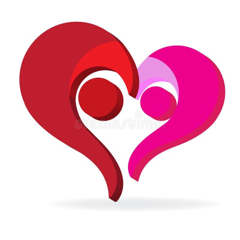 Acople o projeto gráfico da ilustração da imagem do vetor do logotipo do símbolo do Valentim do coração do amor da família ilustração do vetor