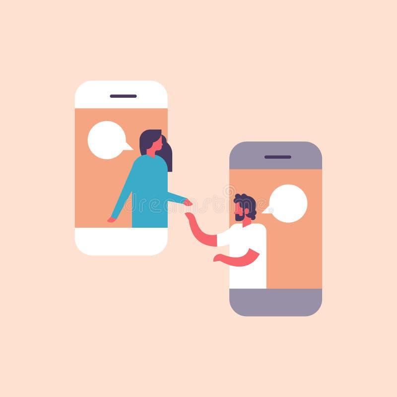 Acople o retrato de comunicação do fundo do caráter da mulher do homem do diálogo do discurso da aplicação móvel das bolhas do ba ilustração stock