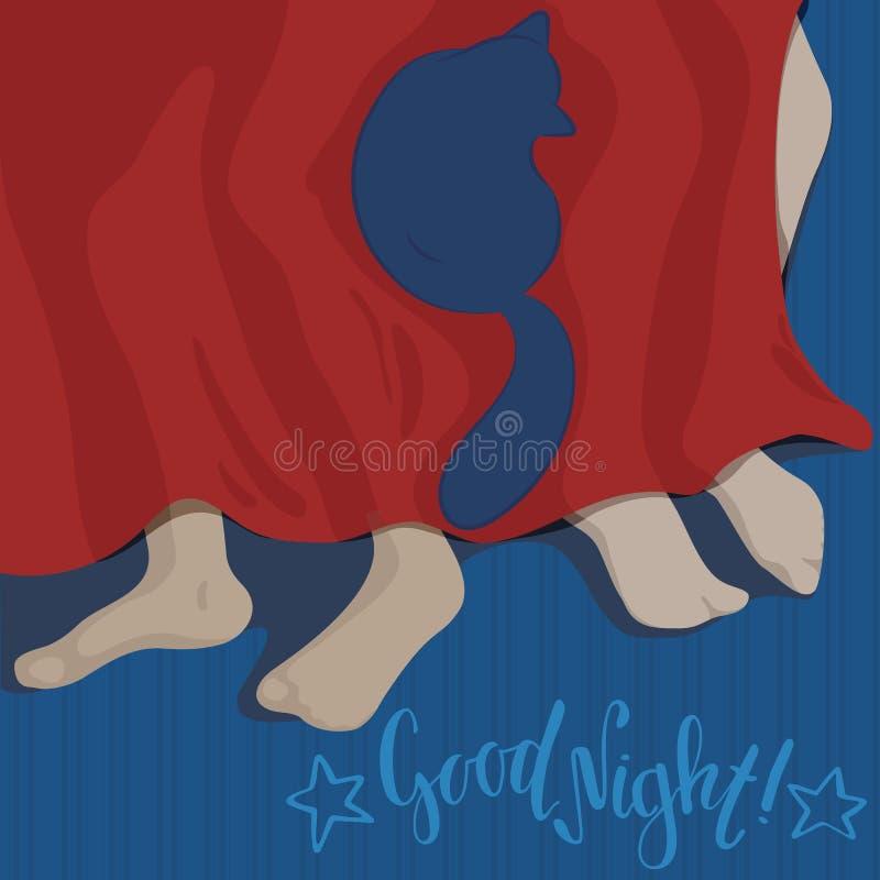 Acople o sono com gato Rotulação da boa noite Ilustração lisa do vetor do estilo Relacionamento romântico e gato ilustração do vetor