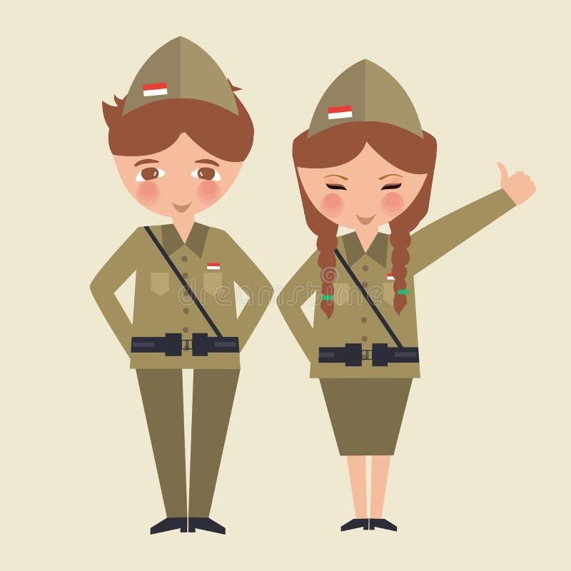 Acople o uniforme vestindo Indonésia do exército do lutador da liberdade dos desenhos animados das crianças ilustração do vetor