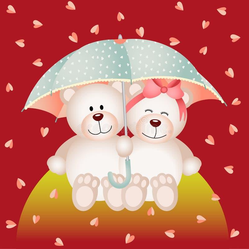 Acople o urso de peluche com o guarda-chuva sob a chuva dos corações ilustração do vetor