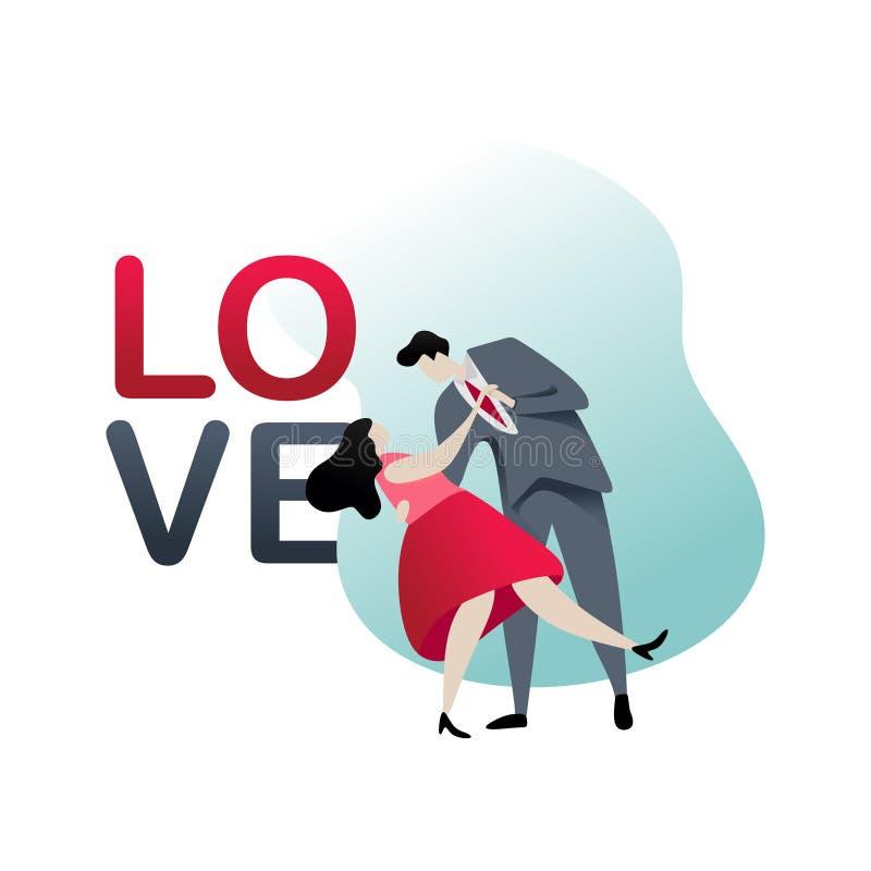 Acople romântico com projeto liso do vetor do vestido e do smoking Queda moderna do conceito do texto do amor no amor do tema do  ilustração royalty free