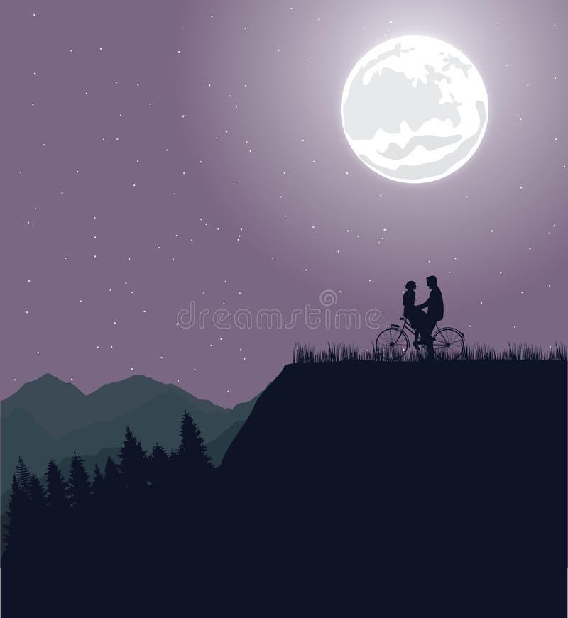 Acople a silhueta sob a lua no romance da bicicleta da equitação da bicicleta ilustração royalty free