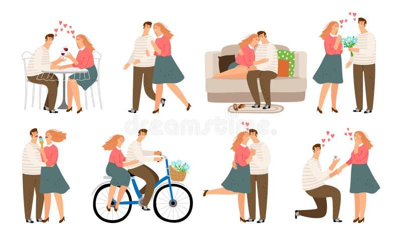 Acople situações Jovens, mulher e homem na discussão da caminhada do beijo do amor e no sofá do sofá ilustração do vetor