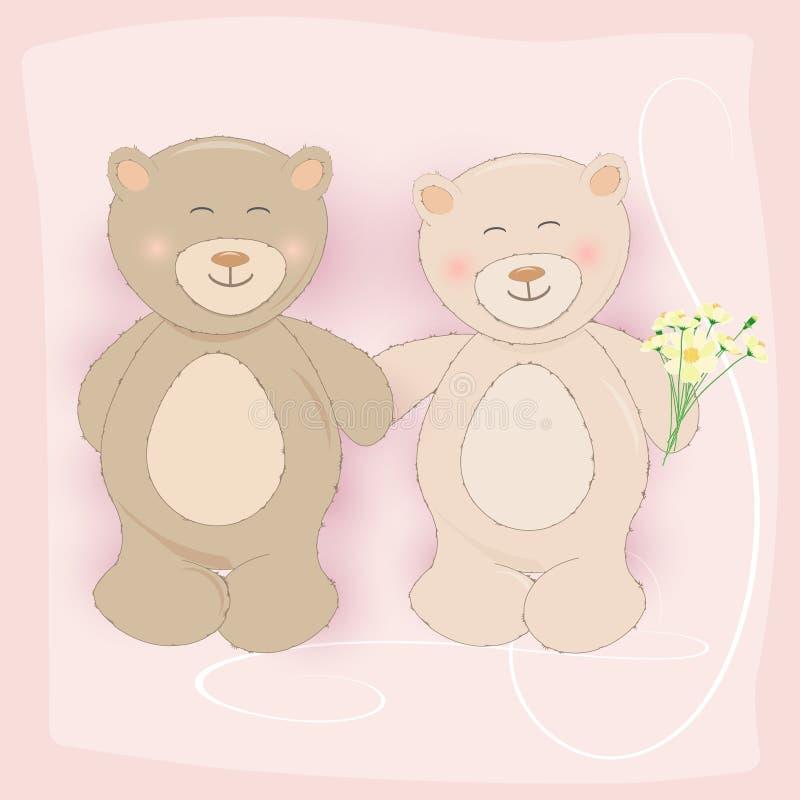 Acople Teddy Bear que guarda o cartão da flor do cosmos no rosa ilustração royalty free