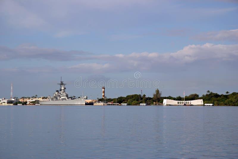 Acorazado Missouri y monumentos de Arizona - Pearl Harbor imagenes de archivo