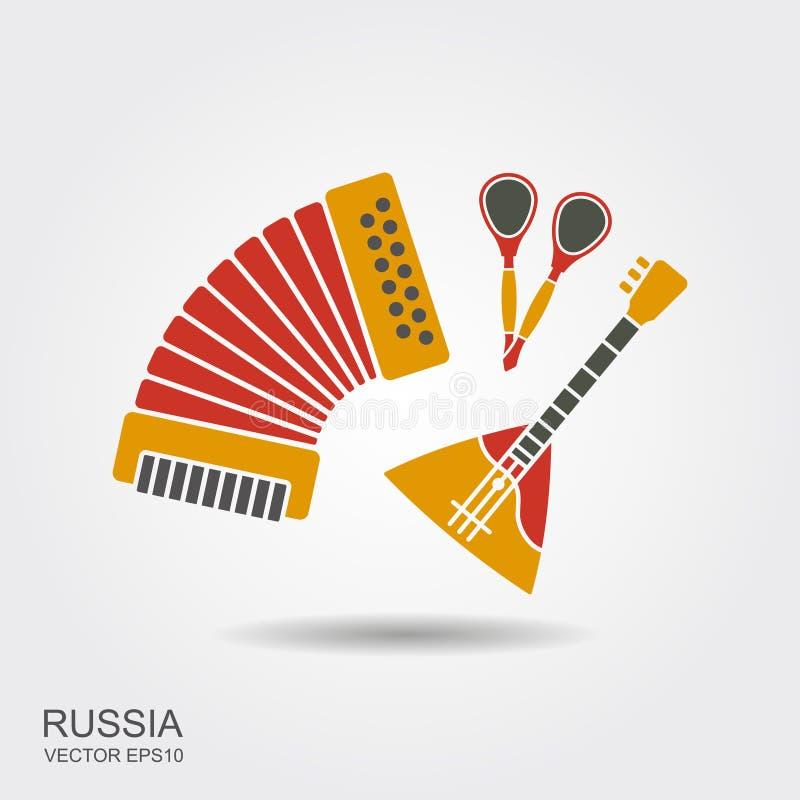 Acordeão, colheres e instrumentos musicais do russo da balalaica ajustados ilustração stock