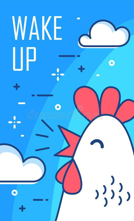 Acorde o cartaz com nuvens e o galo no fundo azul Linha fina projeto liso Vetor ilustração stock