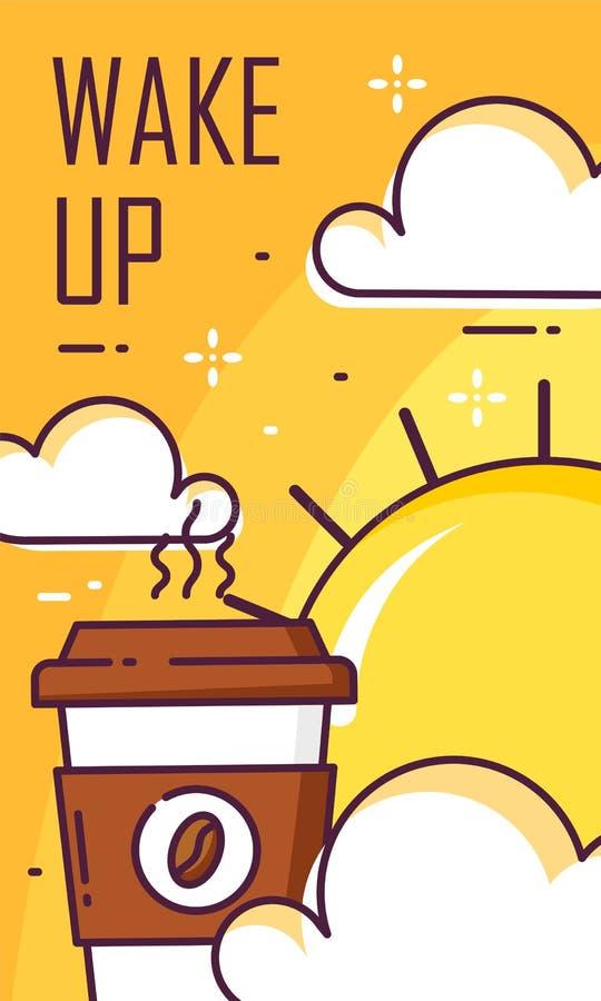 Acorde o cartaz com xícara de café, nuvens e sol Linha fina projeto liso Bandeira do bom dia do vetor ilustração stock