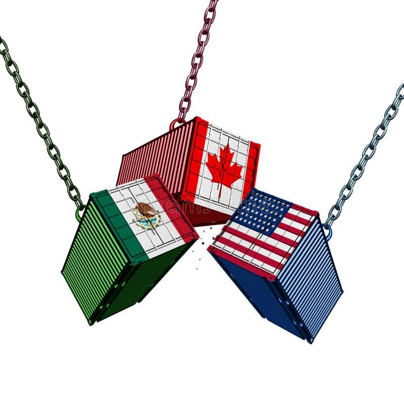 Acordo de comércio de México Canadá do Estados Unidos ilustração stock