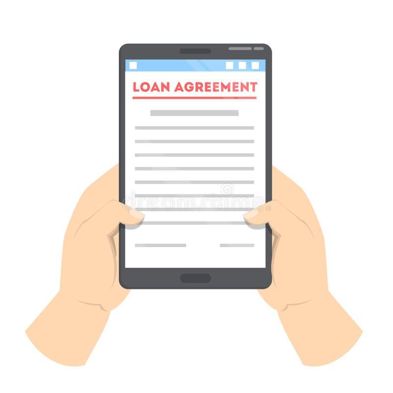 Acordo de empréstimo no dispositivo digital Contrato em linha ilustração stock