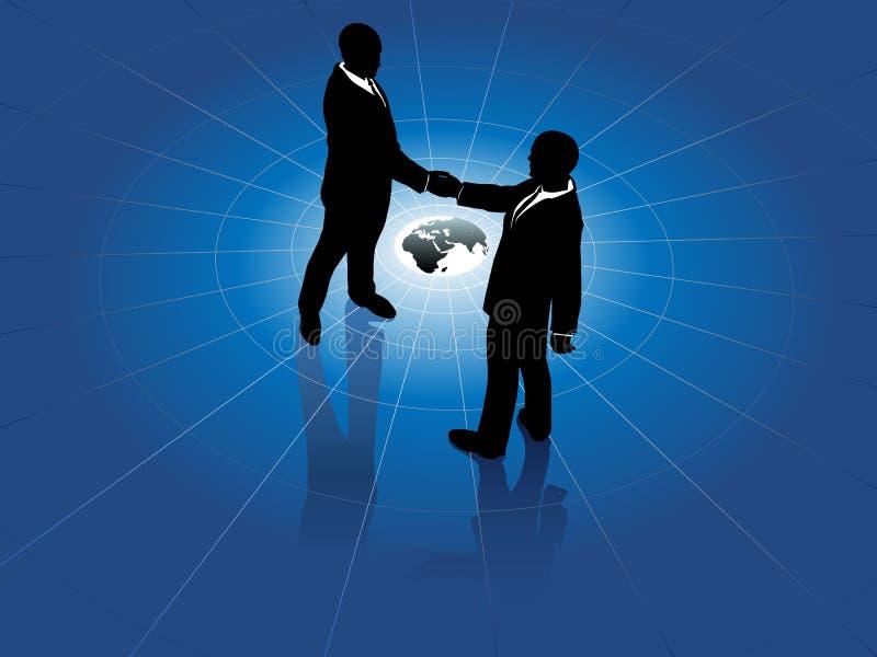 Acordo de mundo do aperto de mão dos homens de negócio global ilustração do vetor