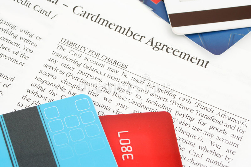 Acordo do cartão de crédito fotografia de stock