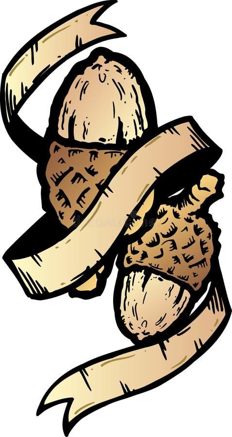 Acorn banner tattoo style vector illustration royalty free stock image