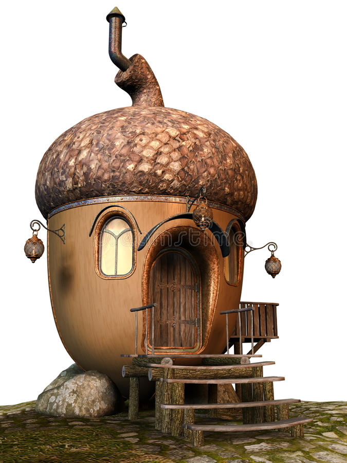 Acorn fairy cottage royalty free illustration