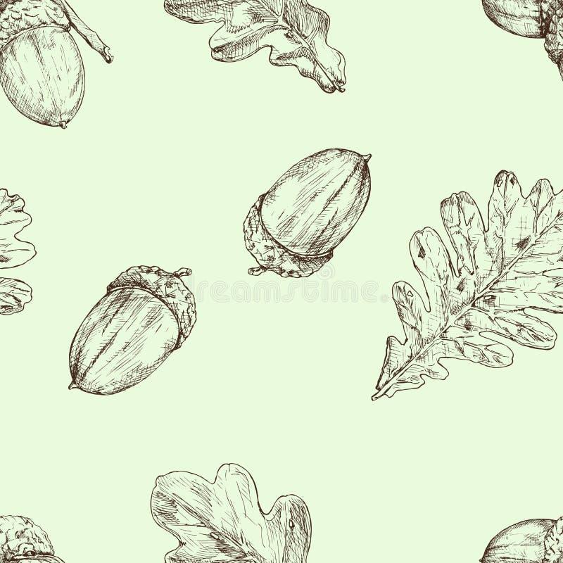 Acorn i dębu liść wektor bezszwowy wzoru szczotkarski węgiel drzewny rysunek rysujący ręki ilustracyjny ilustrator jak spojrzenie ilustracja wektor