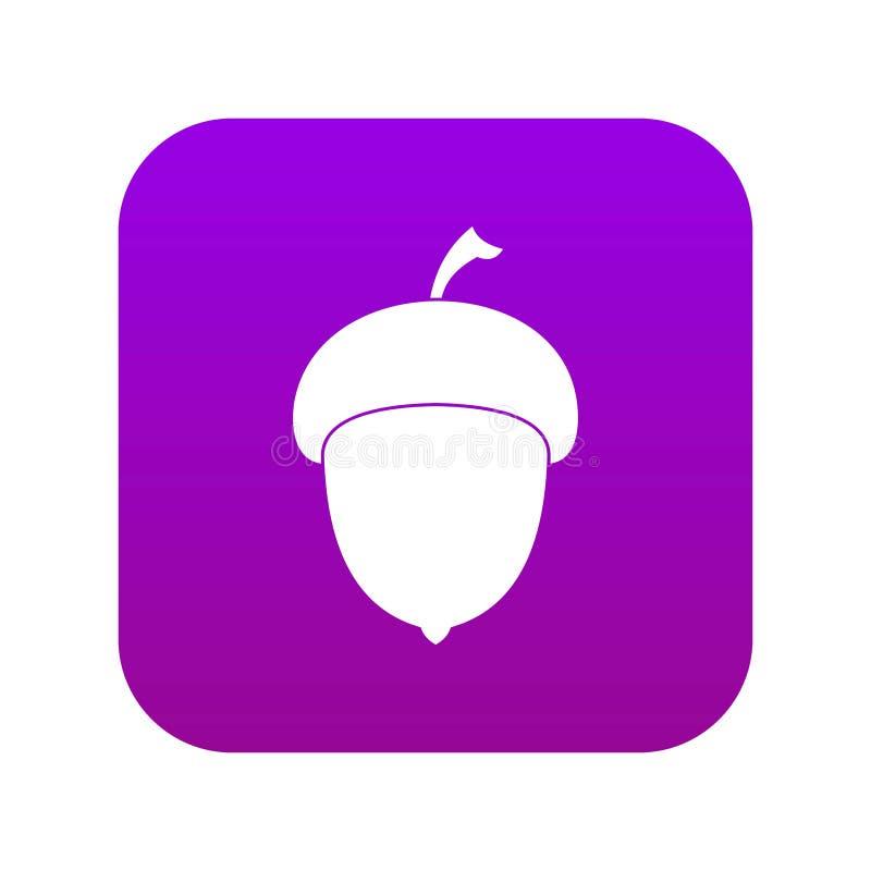 Acorn icon digital purple. For any design isolated on white vector illustration stock illustration