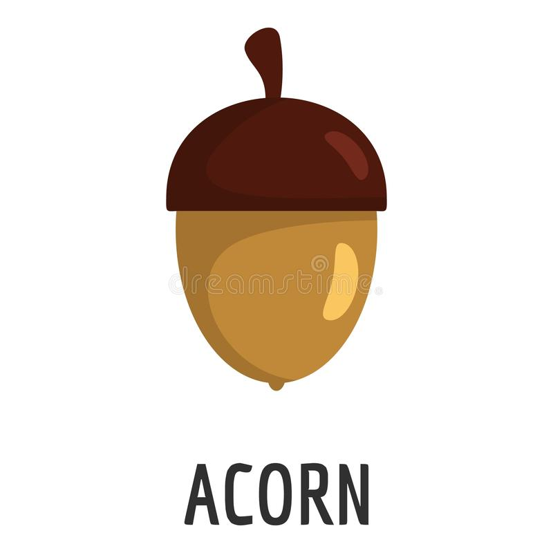 Acorn icon, flat style stock illustration
