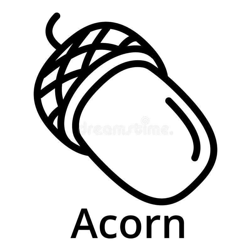 Acorn icon, outline style stock illustration