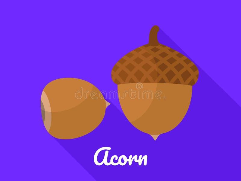 Acorn ikona, mieszkanie styl ilustracja wektor