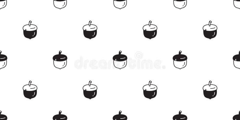 Acorn orzecha włoskiego kreskówki powtórki tła płytki doodle ilustracji bezszwowy deseniowy wektorowy wiewiórczy bobowy szalik od ilustracji
